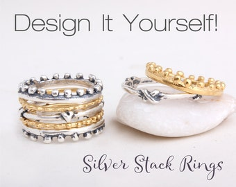 Stacking Rings in Sterling Silver and 24K Gold Vermeil. Design your own stackable ring set. Stack Rings in Gold and Silver, Great Gift!