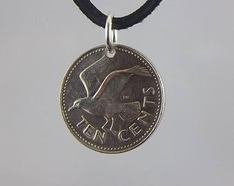 Barbados Bird Coin Necklace, 10 Cents, Coin Pendant, Mens Necklace, Womens Necklace, Leather Cord, Birth Year, 1987, Vintage