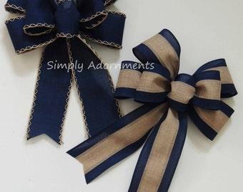 Navy blue Bow Rustic Navy Tan Wedding Pew Bow Navy Burlap Lantern Bow Navy door hanger Bow Navy Burlap Wedding Bow Handmade Rustic Gift Bow & Navy door decor | Etsy