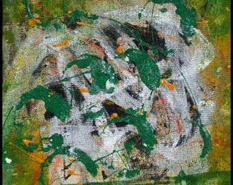 Original Painting - Abstract Painting with Green, Yellow, White, Black by David Lawter