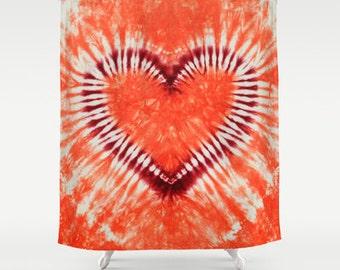 Fabric Shower Curtain-Heart Maroon Orange Coral Tie Dye-Decorative Shower Curtain-71x74 inches, -Hippie Decor