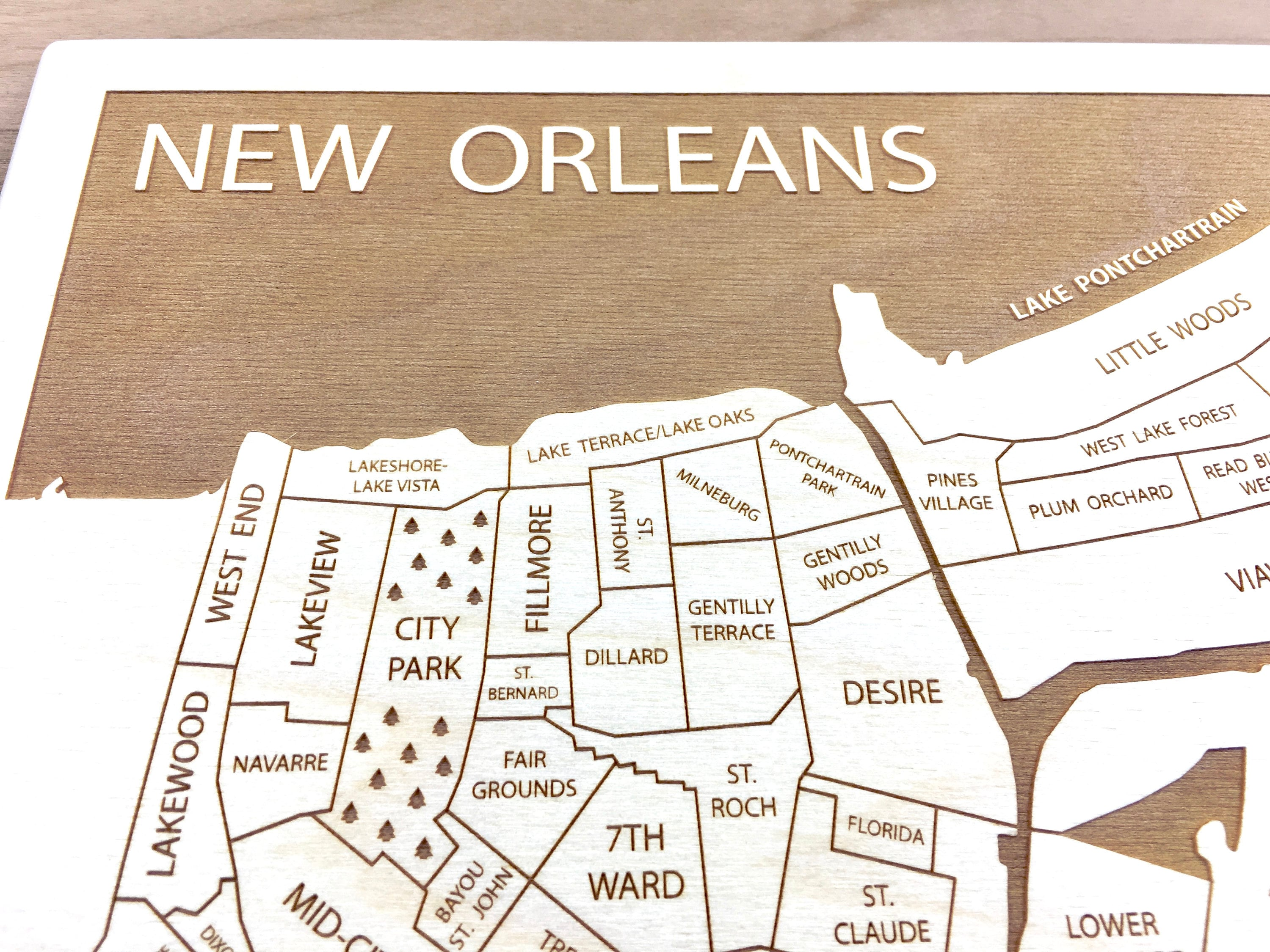 New Orleans Map Louisiana NOLA Neighborhood Map Framed Wood