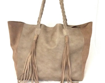 Classy Leather Tote Bag Grey Brown Taupe Suede Tassel Large Big Shoulder Boho Hobo OLA Olaccessories FREE SHIPPING