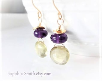 LEMON DROPS Natural Faceted Lemon Quartz Wire Wrapped Briolette Earrings, Purple Lampwork, Bali Gold Vermeil, 14kt Gold Filled