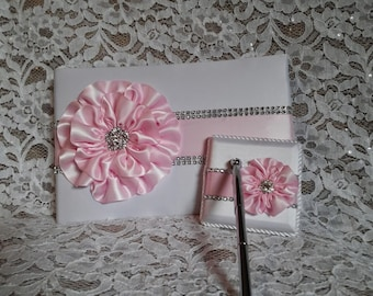 White Satin Wedding Guest Book with Light Pink Flower and Rhinestone Mesh Trim & Pen Set, Petal Pink Guestbook