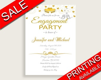 Engagement Party Invitation Bridal Shower Engagement Party Invitation Gold Hearts Bridal Shower Engagement Party Invitation Bridal 6GQOT