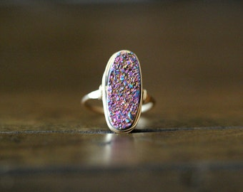 Druzy Oval Gold Ring , Statement Gemstone Ring , Rainbow , Sterling Silver , Rose Gold , Boho Style - Unicorn