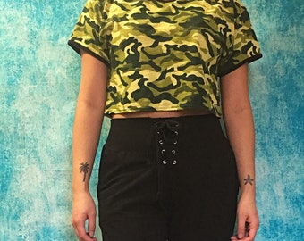 Camouflage Cropped Ringer Tee