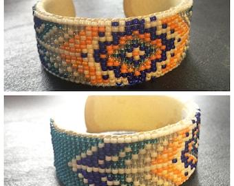 Native American Beaded Cuff Bracelet, Orange and Blue