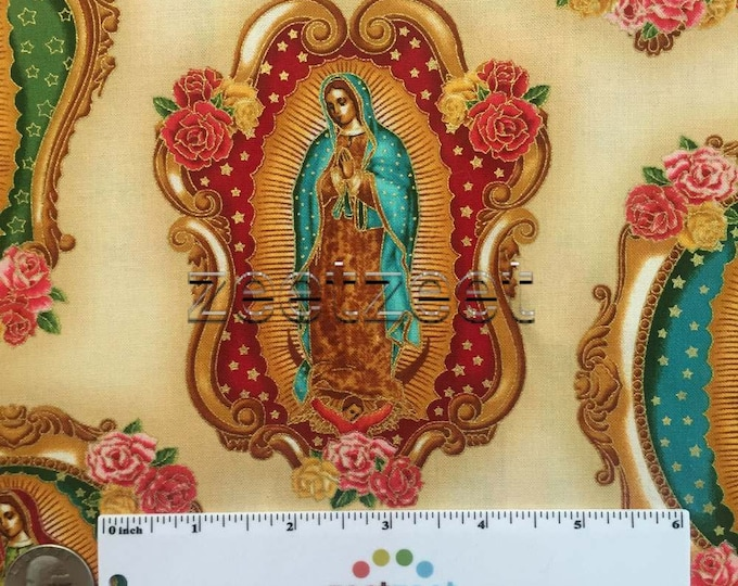 VIRGIN of Guagalupe NATURAL Medallions Cotton Quilt Fabric Blessed Mary Mother Mexico City Mexican Catholic Holy Inner Faith