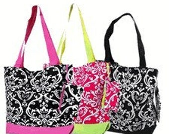 Personalized Damask Tote Bag