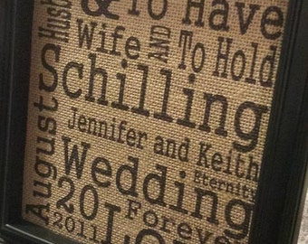 Burlap Print - Wedding Subway Art - Anniversary - Personalized - Wedding Words -  I Do - To Have and To Hold -  8.5 x 11 - Burlap ONLY