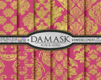 Pink and Gold Paper: Gold and Pink Scrapbook Paper with Pink and Gold Damask Patterns - Dark Pink Damask Digital Paper Download