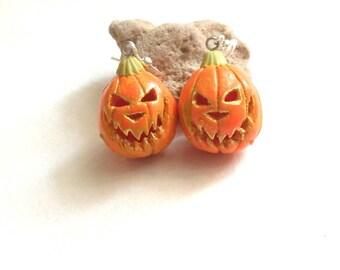 Halloween earrings pumpkin earrings carved pumpkin earrings Halloween jewelry Halloween Costume Halloween party pumpkin polymer clay jewelry