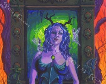 "Unseelie Queen - Giclee, Print, Original Art, 13.5 x 9.5"""