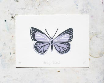 A5 Limited edition Holly Blue Butterfly Linocut