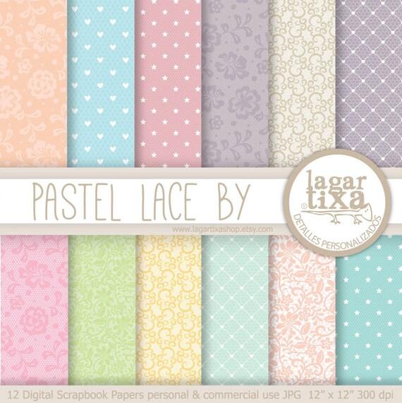 Digital paper pastel lace background summer lace colors pale - Pastel lace wallpaper ...
