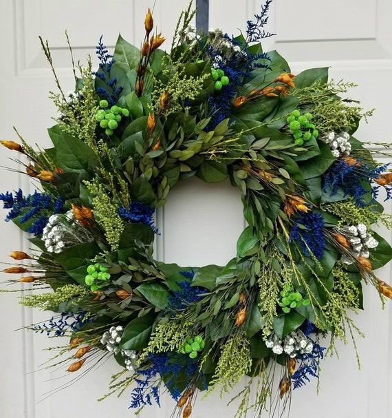 Blue wreath, leaf wreath, preserved wreath, foliage wreath, small wreath, natural wreath, salal wreath, indoor wreath, 20 inch wreath