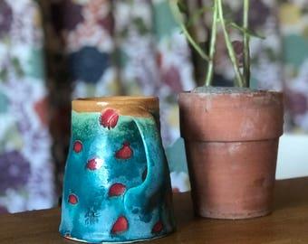 Mug Polka Dot Turquoise Red Yellow Mug Coffee Cup
