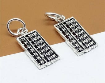 5 Sterling Silver Abacus Charms, 925 Silver Small Abacus Charms, Counting Frame Charms, Calculate Charms - TZ797