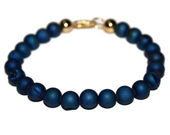 Blue Druzy Bracelet Raw Stone Jewelry Blue Bracelet Wedding Jewelry Groomsmen Gift for Him Bracelet for Husband Drusy Jewelry Mens Bracelet