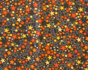 Basically Patrick for RJR Fabrics  Orange, Yellow, Gray Stars  Quilting Fabric Sold by the Half Yard