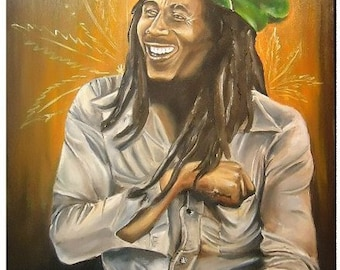 BOB MARLEY by Jeremy Worst Giclee Canvas Print weed smile