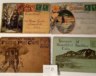 Vintage Souvenir Postcard Folders Lot of 4 Vintage from 1920's / Golden Gate / Yosemite National Park / Moffat Road / Boulder Colorado