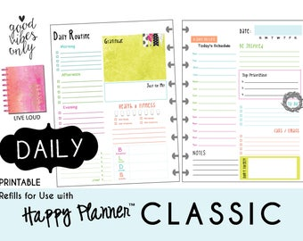 "HAPPY PLANNER Daily Planner Refills Printable - PDF - Classic 7 x 9.25  ""Live Loud"" mambi 