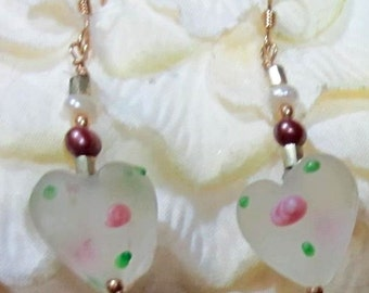 Frosted Glass Hearts with Tiny Flowers and Leaves Freshwater Pearls Godl Filled Wires