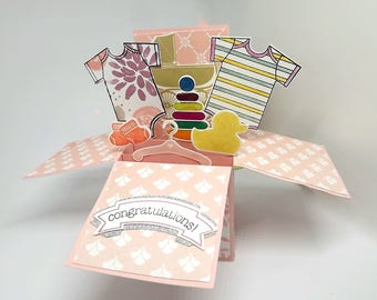 Card in a box, for a new baby girl, pop up card, box card