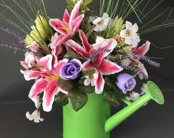 Floral Arrangement, Spring Floral Arrangement, Watering Can Floral Centerpiece, Home Decor, Table Floral Centerpiece, Spring Centerpiece