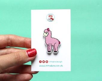 Alpaca pin, alpaca brooch, alpaca badge, alpaca jewellery, cute gifts, cute jewellery, llama pin, llama badge, llama brooch, cute pin