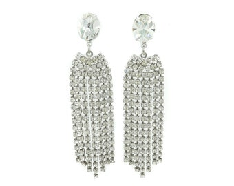 Vintage Rhinestone, Dangle Earrings, Glass, Silver Tone, Posts