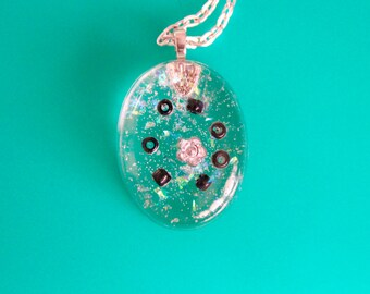 Silver Flower Bead Resin Necklace
