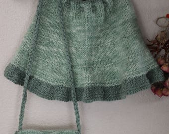 Knitted skirt and purse set, Little Girls Clothing, Knitted Girls Gift