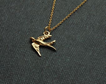 Tiny small swallow bird charm pendant necklace 24k gold vermeil