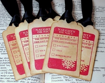Naughty or Nice Christmas Tags/ Santa Vintage Style Gift Tags Labels/ SET of 6 Tags with Ribbon Choice available
