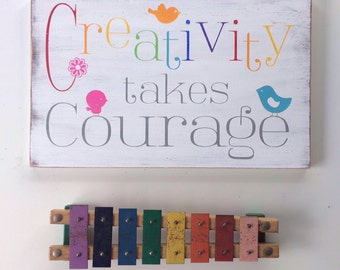Creativity Takes Courage - Typography Word Art Sign in Rainbow and Grey