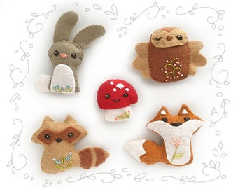 DIY Mini Felt Woodland Creatures plush Set 1 PDF sewing pattern felt animal finger puppet fox bunny raccoon owl patterns ornaments