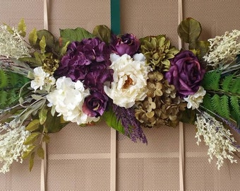 Summer, Fall Floral Swag, Fall Floral Wreath, Over the Door Swag, Purple, Ivory, White, Green, Realistic Silk Flowers, Many Colors to Choose