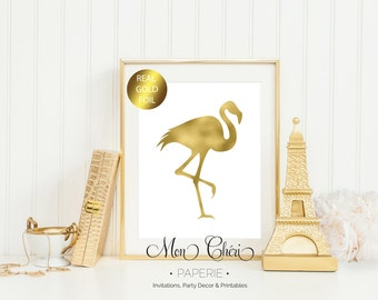 Flamingo Gold Foil Print / 5x7 OR 8x10 Real Gold Foil Print / Girls Room Foil Print