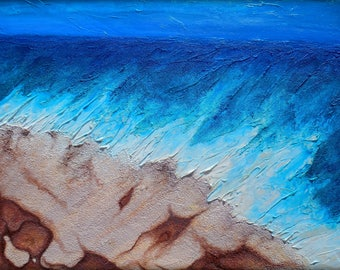 ON SALE Plus Free USA Shipping,  Large Wall Art Contemporary Abstract Heavily Textured Original Beach Painting 36x48