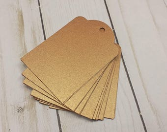 24 Metallic Copper Color Paper Tags, Hand Punched Tags for Craft Fairs and Gift Labels