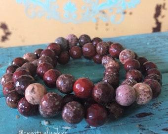 Stackable Faceted Red Jasper Spiritual Junkies Yoga and Meditation Bracelet (single bracelet)