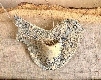 Bird Shaped Wall Pocket, Wall Vase, Pottery, Blue and White, Lace Pottery, Hanging, Rustic Decor, Gift under 25, Womens Gift, Teacher Gift