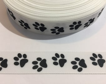 "3 Yards of 7/8"" Ribbon - White with Black Paw Prints"