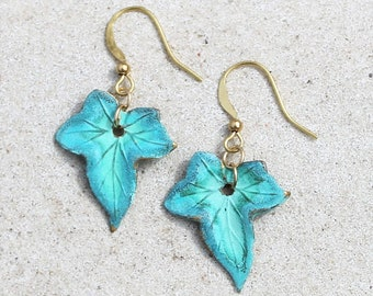 Petite Aqua Verdigris Patina Leaf Earrings