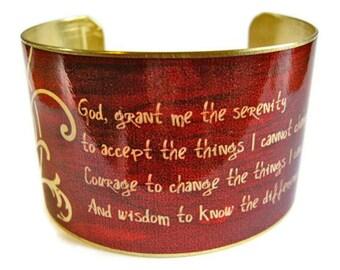 Serenity Prayer cuff bracelet brass   Gifts for her