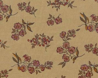 Windham Fabrics - Mary Koval - Remember Me Series - Floral Print - Tan Background - By the Yard Listing